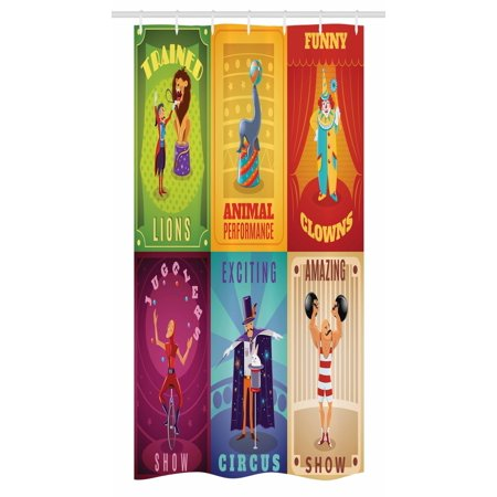 Circus Stall Shower Curtain, Circus Characters with Trained Animals Strong Man Trapeze Artist Retro Show Design, Fabric Bathroom Set with Hooks, 36W X 72L Inches Long, Multicolor, by Ambesonne