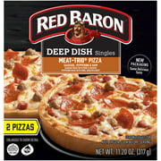 RED BARON Pizza, Deep Dish Singles Meat Trio, 2 count, 11.20 oz