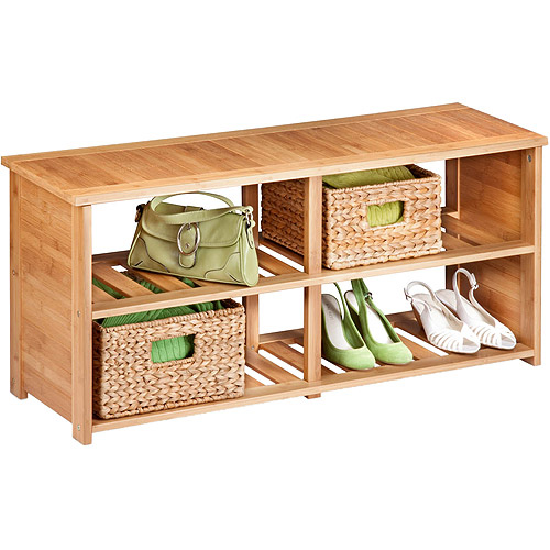 Honey Can Do 2-Tier Bamboo Shoe and Storage Bench, Brown