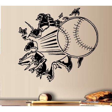 Decal ~ BASEBALL THROUGH THE WALL ~ WALL DECAL, HOME DECOR 13