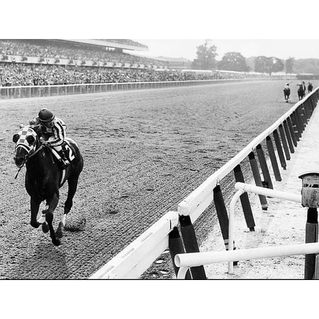 Laminated Poster Secretariat Wins At Belmont Poster Art Great American Horses Artwork Poster Print 24 x 36