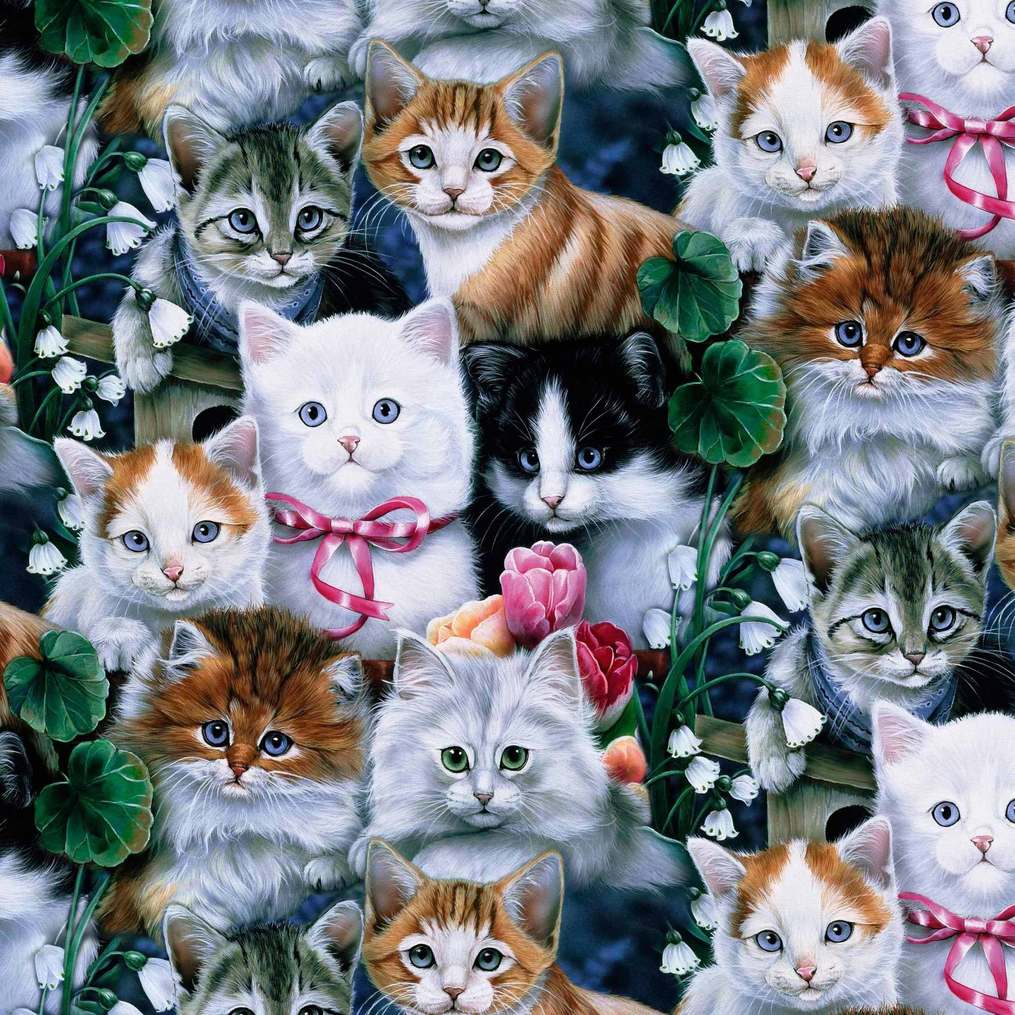 "Art Licensing Polyester Fleece 36"" x 60"" Valentines Kittens Anti-Pill Fabric, 1 Each"