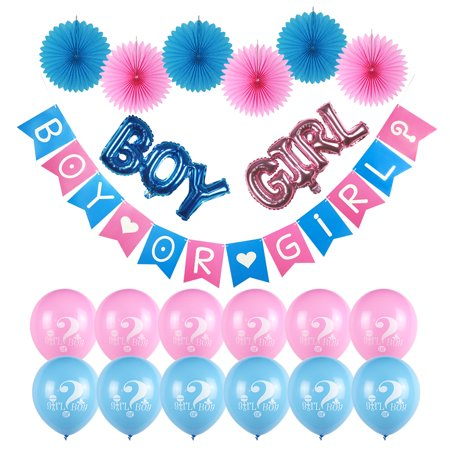 Gender Reveal Party Supplies | 21 PIECES |  Gender Reveal Balloons | Gender Reveal Decoration | Gender Reveal Decor Kit | Girl or Boy | oh baby Gender Reveal Decorations - Halloween Party Decorations Rental