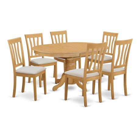East West Furniture LLC AVAT-OAK-C Dining room set - Kitchen dinette table and 4 to 6 kitchen chairs