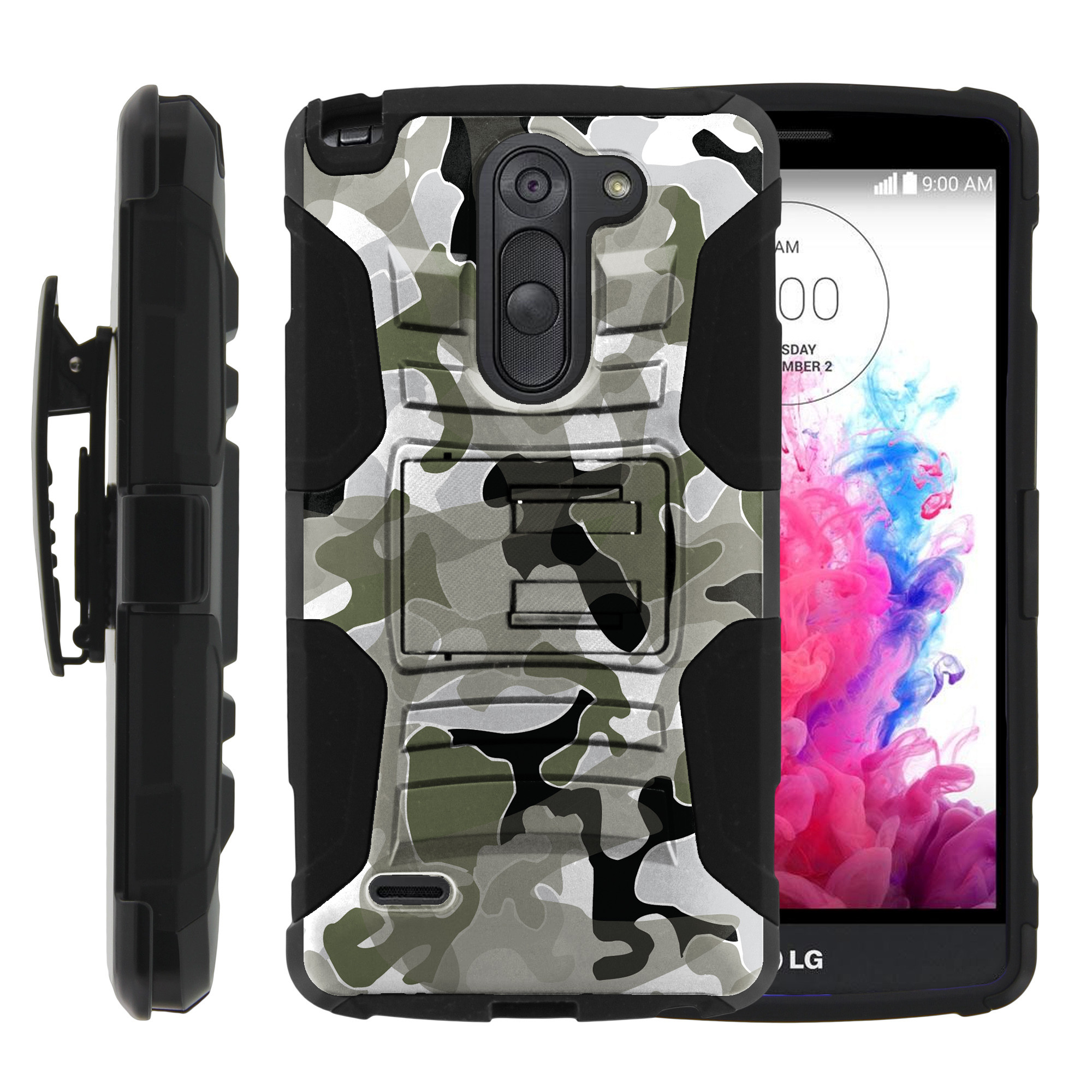 LG G3 Stylus Case | LG D690 Case | G3 Stylus Holster Case [ Clip Armor ] Rugged Case with Kickstand + Holster - Swamp Camouflage