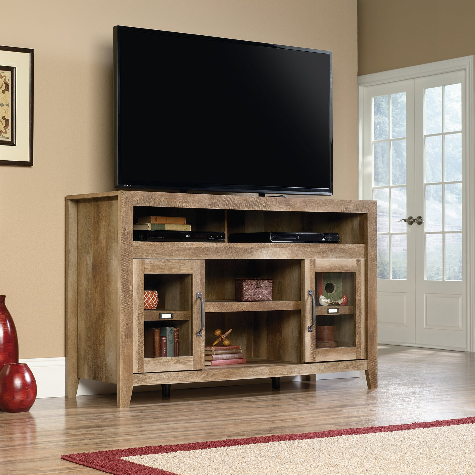 """Sauder Stone Valley Entertainment Credenza for TVs up to 60"""", Craftsman Oak Finish"""
