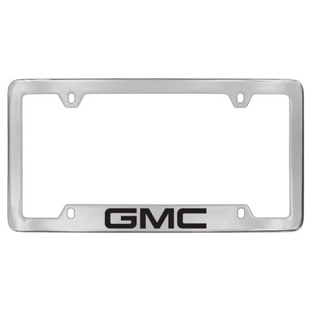 GMC Logo Chrome Plated Metal Bottom Engraved License Plate Frame Holder