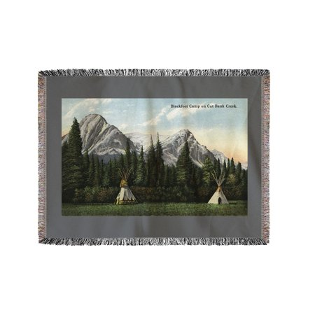 Glacier National Park  Montana   View Of A Blackfoot Camp On Cut Bank Creek  60X80 Woven Chenille Yarn Blanket