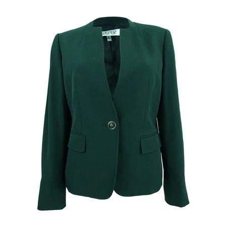 Kasper Women's Petite Stretch Crepe One-Button Blazer (8P, Fir (Crepe Blazer)