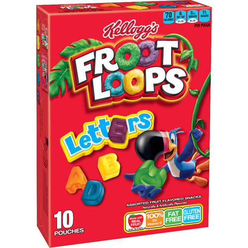 Kellogg's Froot Loops Letters Fruit Flavored Snacks, 10 count, 8 oz