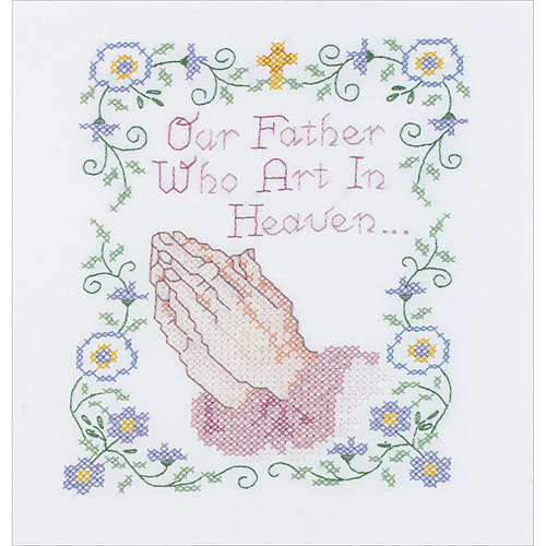 "Our Father Stamped Cross Stitch Kit, 7"" x 9"""