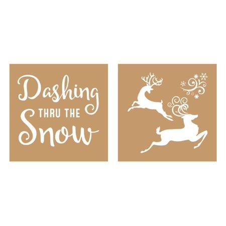Decoart Value Kraft Stencil 8x8 Christmas Dash/Snw ()