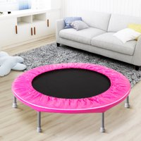 """38"""" Mini Trampoline, BTMWAY Folding Fitness Trampoline Rebounder Exercises for Adults and Kids, Indoor Folding Small Jump Exercise Trampolines with Safty Pad, Max Load 180lbs, Pink, R070"""