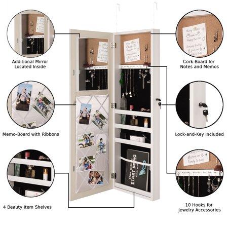 Inspired Home Evania Over The Door Jewelry Armoire Makeup Organizer Mirror