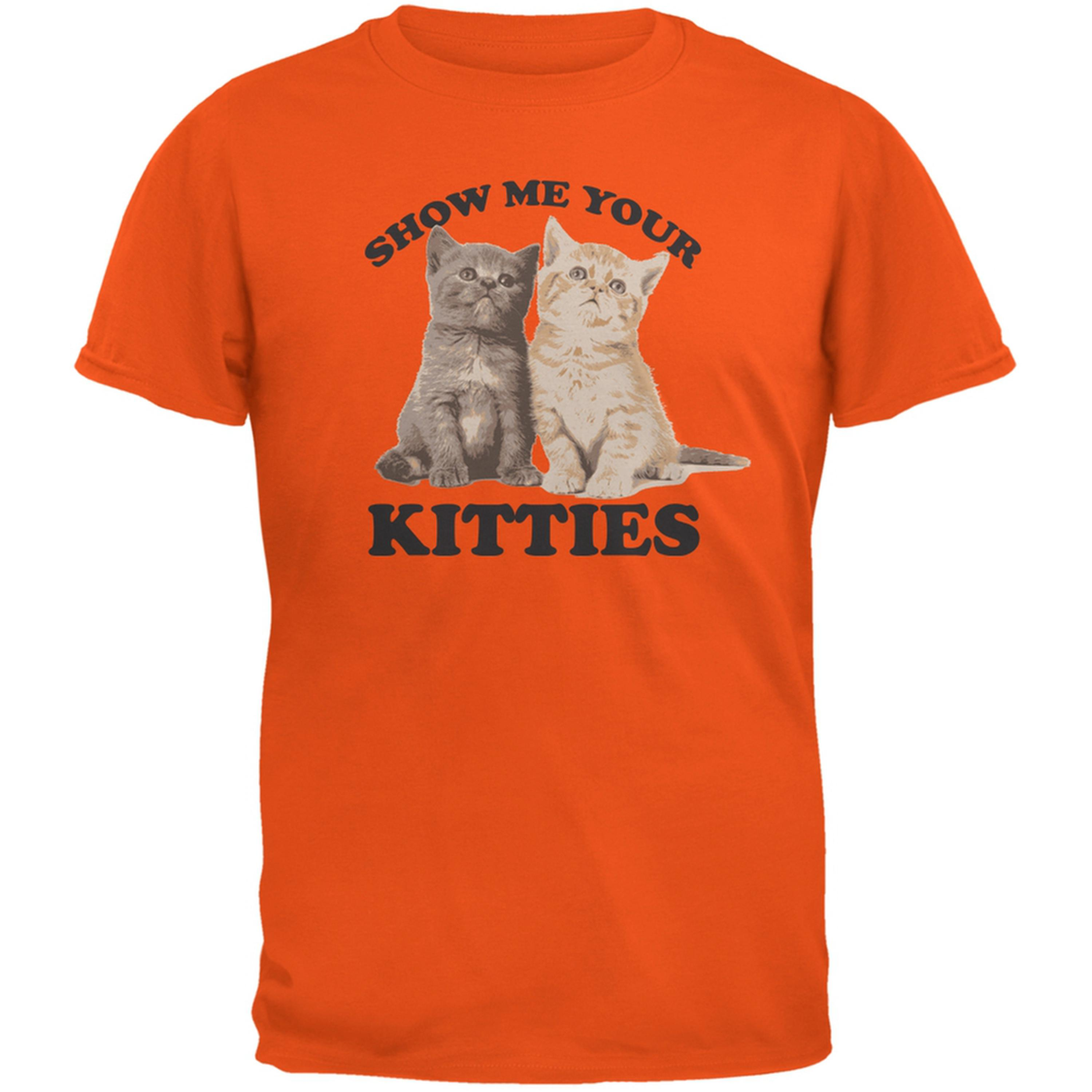 Show Me Your Kitties Orange Adult T-Shirt