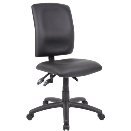 OCC Multil-Function Task Chair Computer Desk chair-Middle Back Ergonomic Office Chair- Black PU Leatherrette without