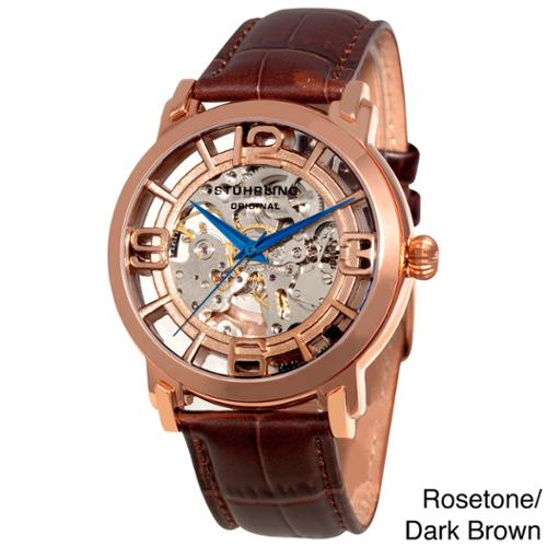 Stuhrling Original Men's Winchester 44 Skeleton Automatic Leather Strap Watch Rosetone/Brown Strap