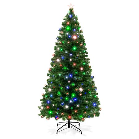Best Choice Products 7-foot Pre-Lit Fiber Optic Artificial Christmas Pine Tree with 280 UL-Certified 4-Color LED Lights, 8 Sequences, Foldable Stand, Green ()