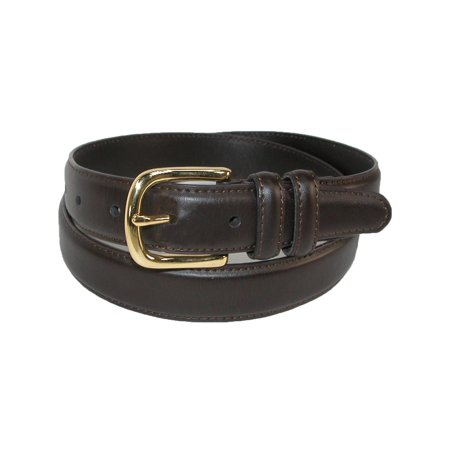 - Men's Big & Tall Leather Feather Edge Belt with Gold Buckle