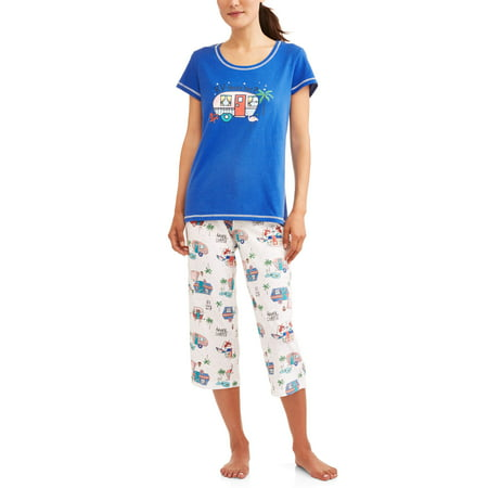 Womens Pajama Tee and Capri Sleep Pant 2 Piece Sleepwear Set