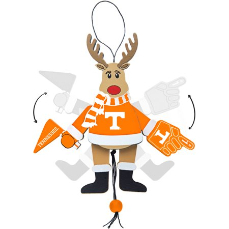 Tennessee Volunteers Ncaa Stripes - Topperscot by Boelter Brands NCAA Wooden Cheering Reindeer Ornament, University of Tennessee Volunteers