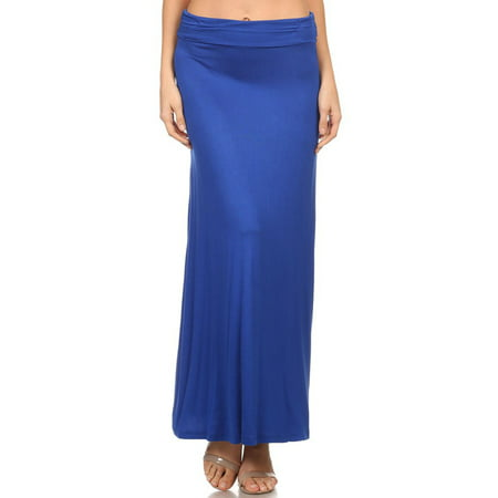 NEW MOA Women's Casual High Waisted Solid / Printed Long Maxi Skirt / Made in (Solid Running Skirt)
