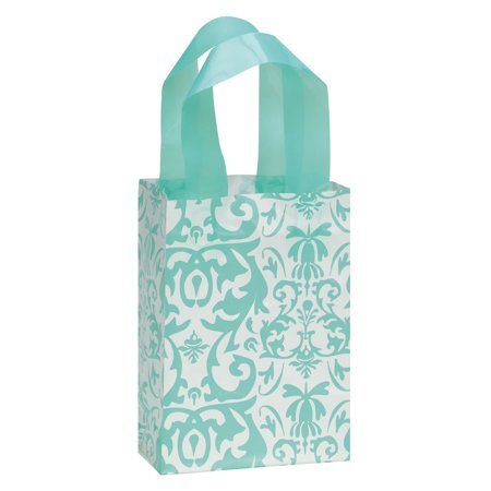 Frosted Shopping Bags (Small Aqua Damask Frosted Plastic Shopping and Plastic Gift Bags - Case of)
