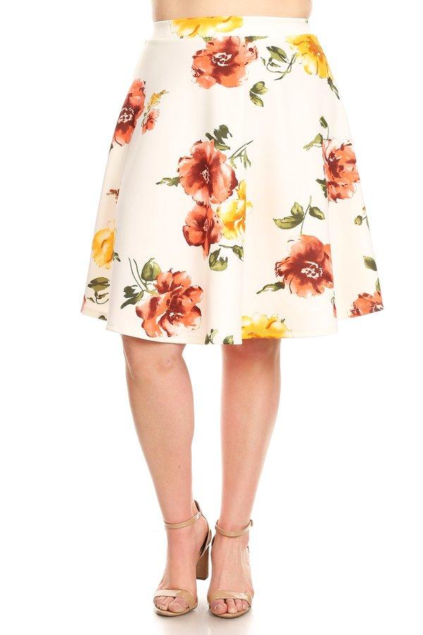 Plus Size Women's Trendy Style Print Knee Length Skirt