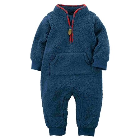 Carters Fleece Coverall (Carters Infant Boys Blue & Red Shepa Fleece Jumpsuit Coverall Baby Outfit 3m )