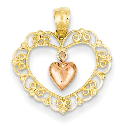 Gold Filigree Heart Charm (14k Yellow Gold Two Tone Rose Filigree Heart Pendant Charm Necklace Love )