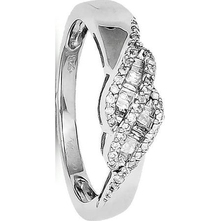 Sterling Silver Rhodium 0.21ct Diamond Baguette Swirl Ring - image 1 of 2