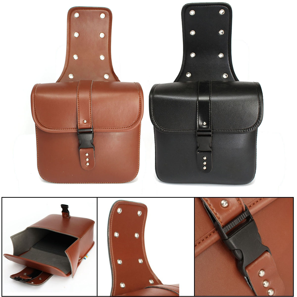 Pair Motorcycle Saddle Bags Cruiser Side Storage Tool Pouches PU Leather Motorbike Rider Gift