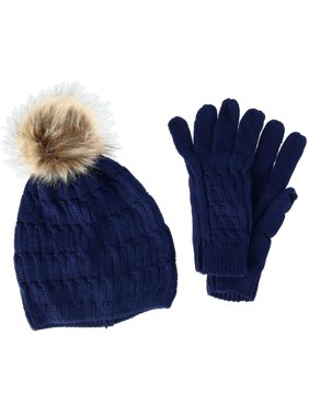 CTM  Knit Beanie Hat with Pom and Matching Gloves Set (Women's)