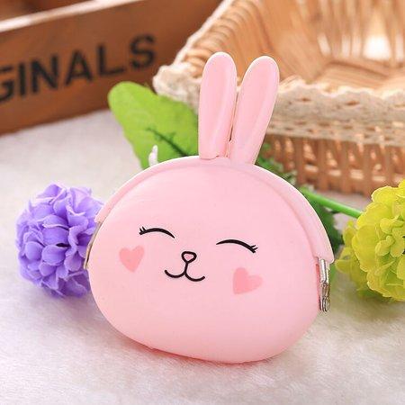 Fashion Cute Cartoon Rabbit Design Coin Purse Zipper Silicone Wallet Small Key Card Bag - image 2 of 7