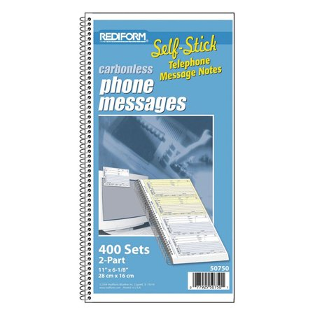 Telephone Message Book  Self Adhesive  2 75 X 5  4 Per Page  400 Messages  50750    Records Up To 1 792 Entries  Columns For Date  Name  Company Address    By Rediform
