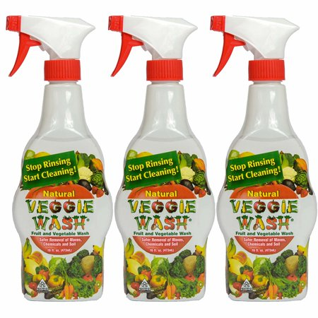 Veggie Wash All Natural Fruit and Vegetable Wash Sprayer, Pack of 3, 16-Ounce