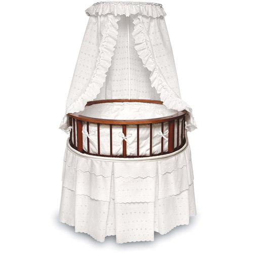 Badger Basket - Cherry Elegance Round Bassinet, White Eyelet Bedding