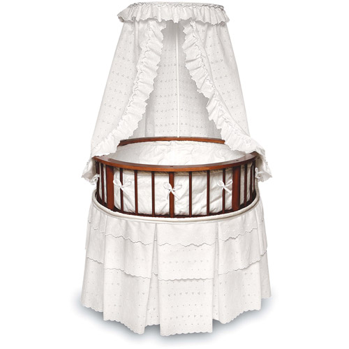 Badger Basket - Cherry Elegance Round Bassinet, White Eyelet Bedding