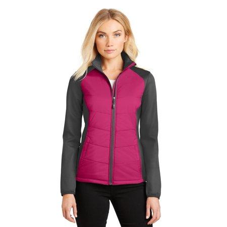 Port Authority® Ladies Hybrid Soft Shell Jacket. L787 Pink Azalea/ Grey Steel M - image 1 de 1
