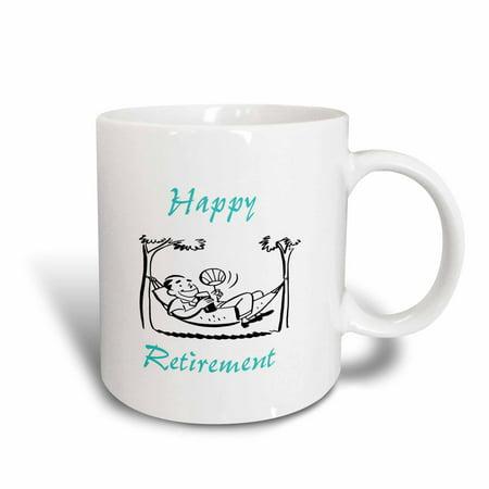3dRose Print of Man On Hammock With Happy Retirement - Ceramic Mug, 11-ounce](Banana Hammock Men)