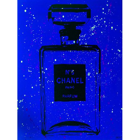 Buy-Art-For-Less-Chanel-Chic-by-Pop-Art-Queen-Graphic-Art-on-Wrapped-Canvas-in-Blue-and-Black