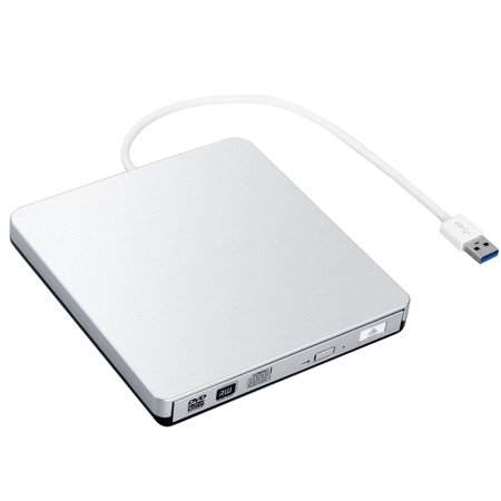 ZSMJ External USB 3.0 DVD Drive, DVD-RW CD-RW Writer Burner Player with Classic Silvery for Apple MacBook Air, Macbook Pro, (Best Music Player For Macbook Pro)