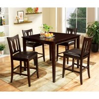 Furniture of America Castleman 5-Piece Counter Height Dining Set in Espresso