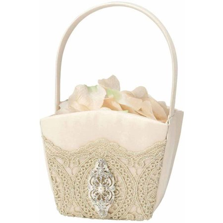Lillian Rose Gold Lace Flower Girl Basket
