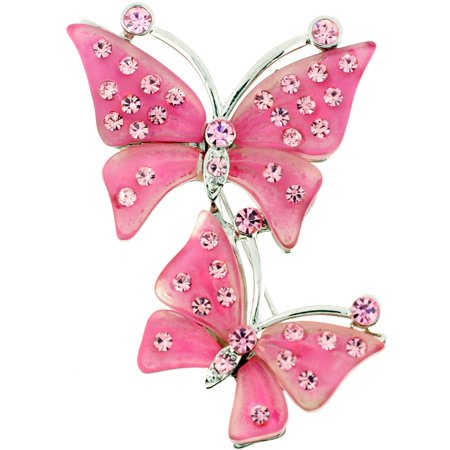 Chain Rose Brooch (Pink Rose Couple Butterfly Pin)