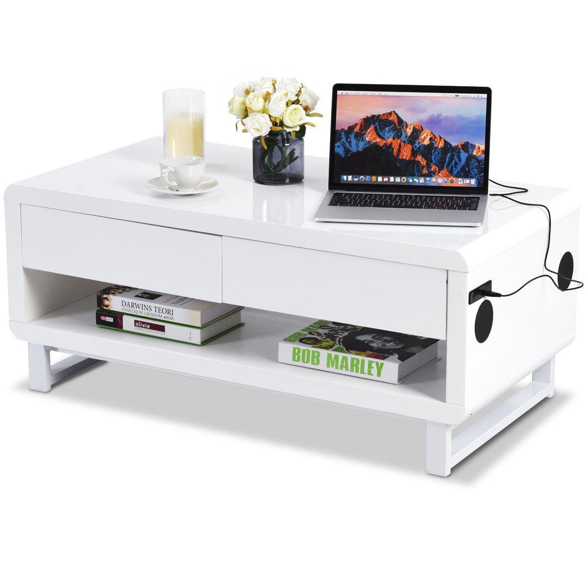 Costway Modern Coffee Table Bluetooth Speakers Drawer