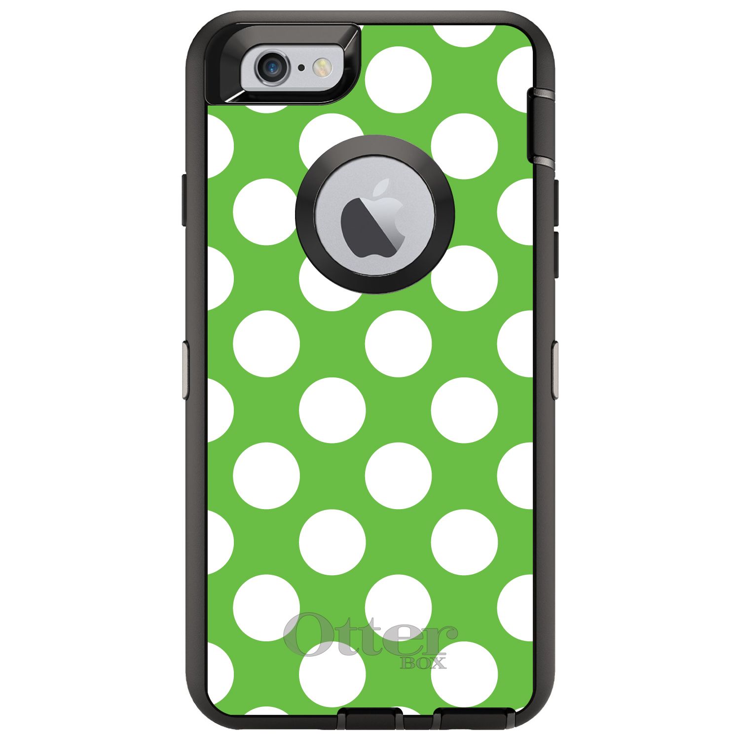 "DistinctInk™ Custom Black OtterBox Defender Series Case for Apple iPhone 6 / 6S (4.7"" Screen) - White & Green Polka Dots"