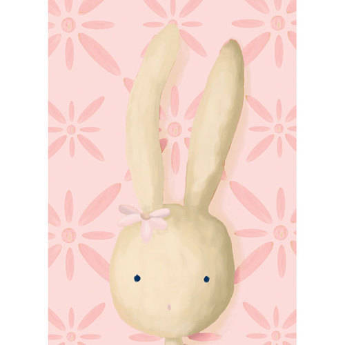 Oopsy Daisy - Rae the Bunny - Pink Canvas Wall Art 10x14, Meghann O'Hara