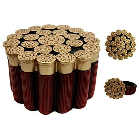 1/2 Diameter Stud - Atlantic Collectibles 12 Gauge Shotgun Shells Hunter's Ammo Round Jewelry Box Decorative Figurine 3.5