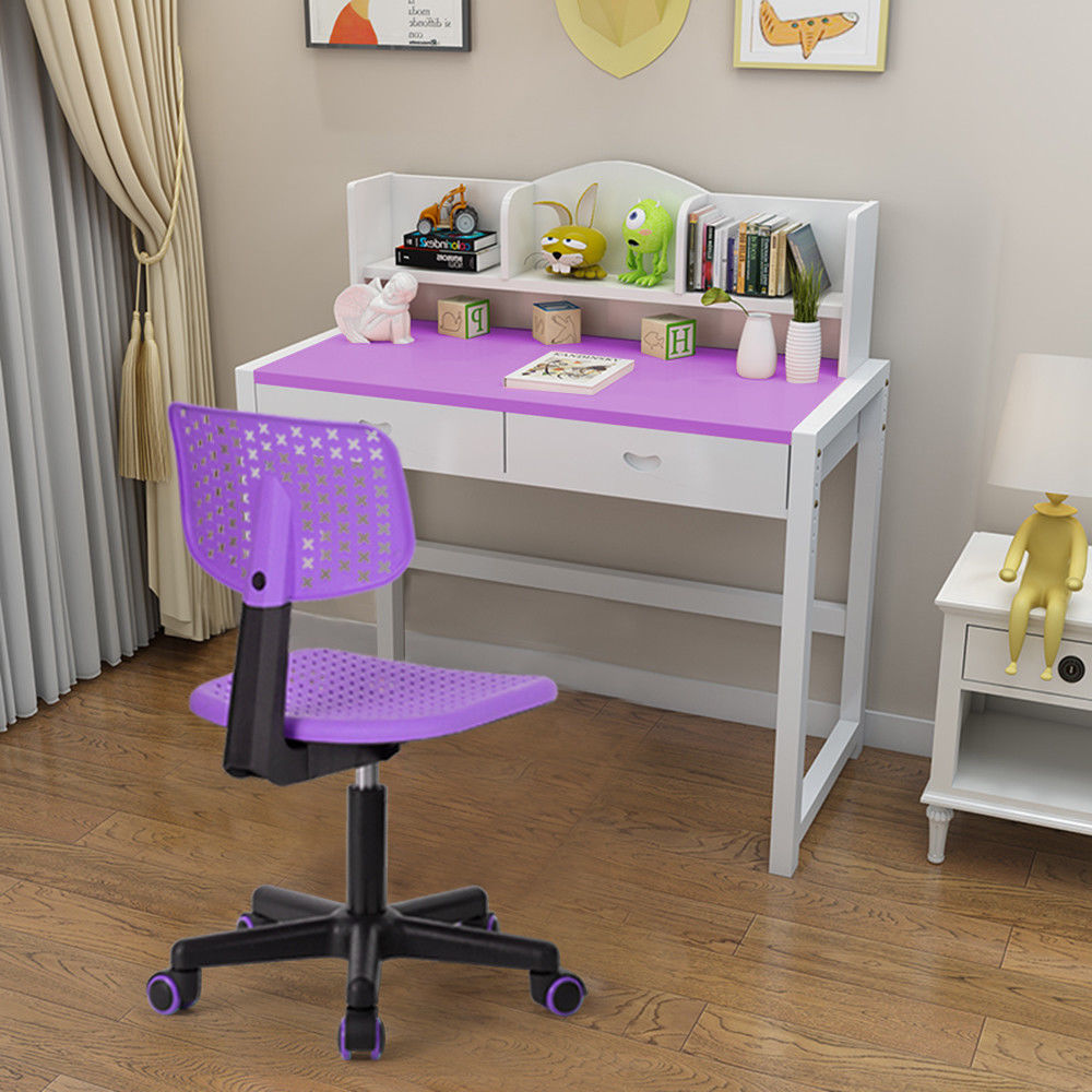 HOMYCASA Study Room Computer Desk Chair Kids Writing Desk Chair Adjustable Dorm Chair Purple